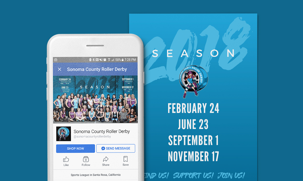 Sonoma County Roller Derby 2018 Season Graphics
