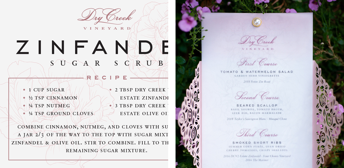 Sunset Vineyard Dinner Sugar Scrub Recipe Card and Menu Design
