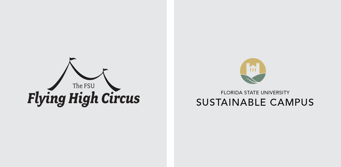 Flying High Circus and Sustainable Campus Logos